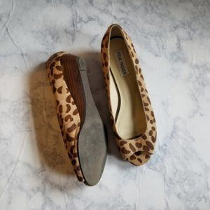 Steve Madden Cheetah Heels Wedges Size 7.5 Brown